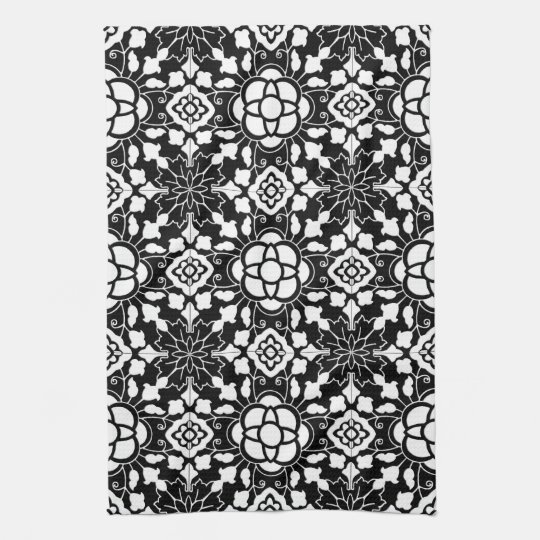 Floral Moroccan Tile, Black and White Hand Towels