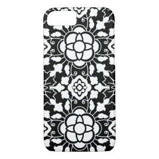 Floral Moroccan Tile, Black and White iPhone 8/7 Case