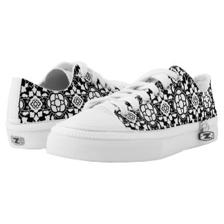 Floral Moroccan Tile, Black and White Low-Top Sneakers