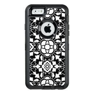 Floral Moroccan Tile, Black and White OtterBox Defender iPhone Case