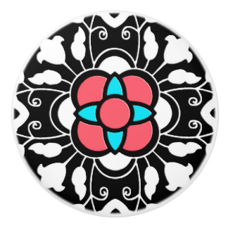 Floral Moroccan Tile, Black, White and Coral Pink Ceramic Knob