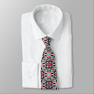 Floral Moroccan Tile, Black, White and Coral Pink Tie