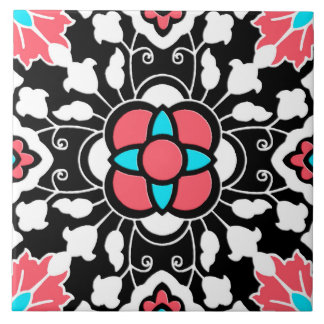 Floral Moroccan Tile, Black, White and Coral Pink Tile