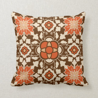 Floral Moroccan Tile, Brown, Rust and Beige Throw Pillow