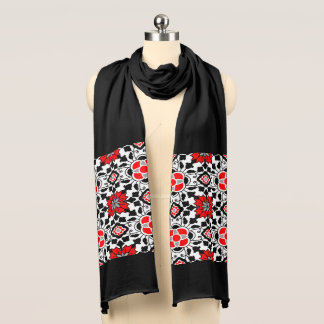 Floral Moroccan Tile, Deep Red, Black  and White Scarf