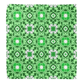 Floral Moroccan Tile, Emerald and Lime Green Bandana