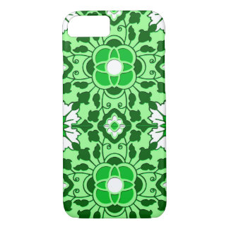 Floral Moroccan Tile, Emerald and Lime Green iPhone 8/7 Case