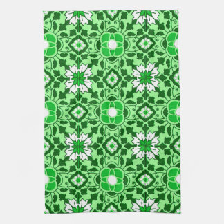 Floral Moroccan Tile, Emerald and Lime Green Kitchen Towel