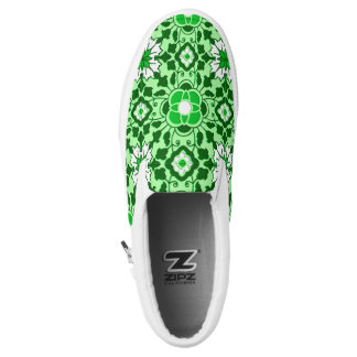 Floral Moroccan Tile, Emerald and Lime Green Slip-On Sneakers