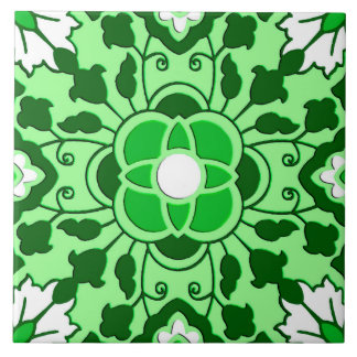 Floral Moroccan Tile, Emerald and Lime Green Tile