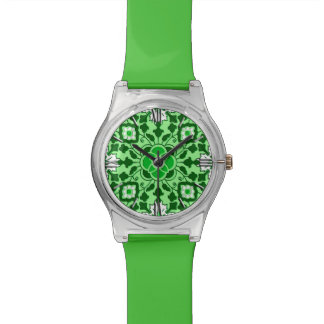 Floral Moroccan Tile, Emerald and Lime Green Watch