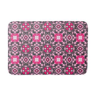 Floral Moroccan Tile, Fuchsia Pink & Gray / Grey Bath Mat