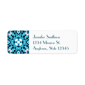 Floral Moroccan Tile, Indigo, Sky Blue and White