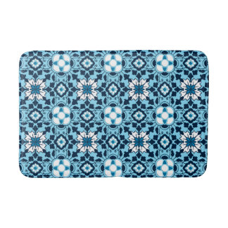 Floral Moroccan Tile, Indigo, Sky Blue and White Bath Mat