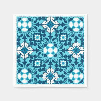Floral Moroccan Tile, Indigo, Sky Blue and White Disposable Napkins