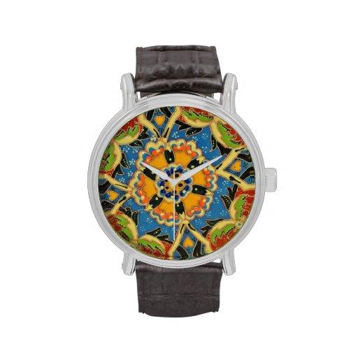 Floral Mosaic Vintage Leather Strap Black Watch