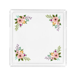 Floral Motif Square Tray