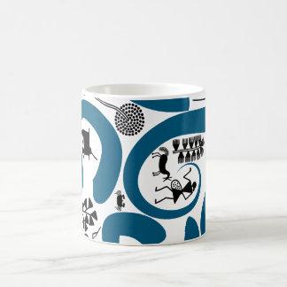 floral motif warli tribal art blue mug