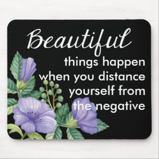 Floral Motivational Attitude Purple Flower Black Mouse Pad