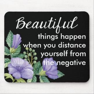 Floral Motivational Attitude Purple Flower Black Mouse Pad