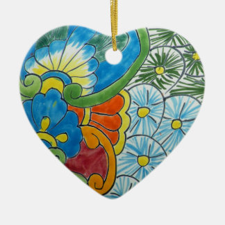 Floral motive ceramic heart ornament