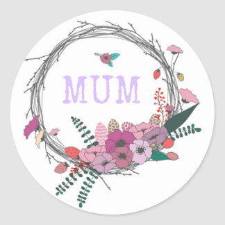 Floral Mum Classic Round Sticker