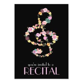 floral music treble clef on black card