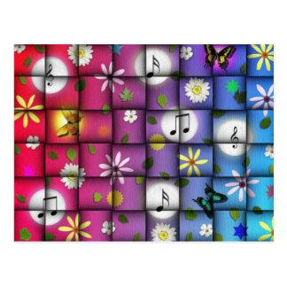 Floral Musical Plaid Postcard