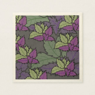 floral napkin and of leaves paper napkins