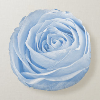 Floral Nature Photo Dainty Light Blue Rose Round Pillow