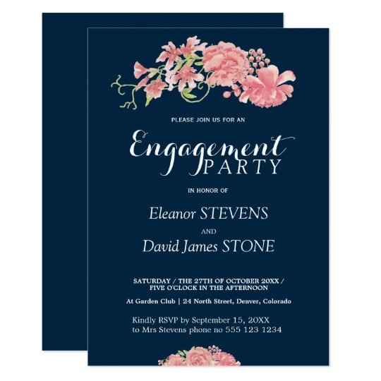 Floral navy and blush engagement party invite