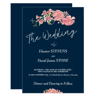 Floral navy and blush wedding modern white script card