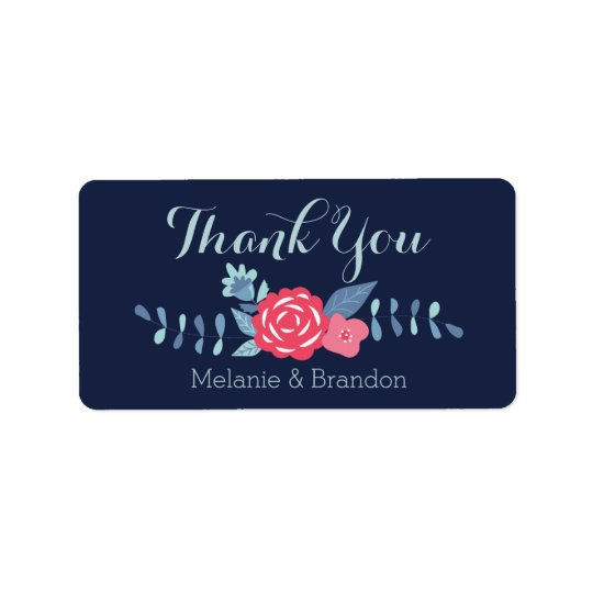 Floral navy and pink Thank You labels