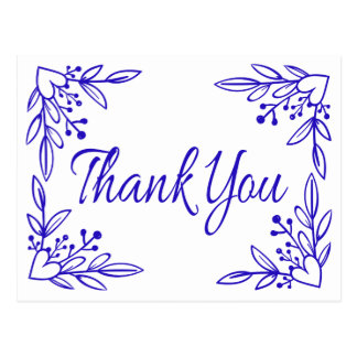 Floral Navy Blue Cobalt Thank You Heart Wedding Postcard