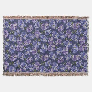 Floral Navy Watercolour Pattern Fringe Blanket