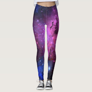 Floral Nebula Pink and Blue Leggings