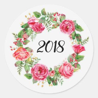 Floral New Year Wreath Classic Round Sticker