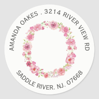 Floral O Initial Monogram Return Address Sticker