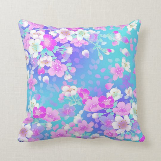Floral On Blue Throw Pillow