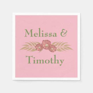 Floral on pink background disposable napkins