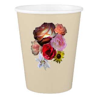 Floral on Tan Paper Cup