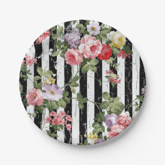 Floral on Weathered Black Stripe Paper Plate