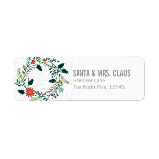 Floral Or Botanical Christmas Wreath Return Address Label