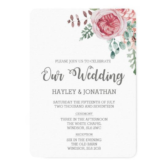 Floral or Vintage Wedding Invitation