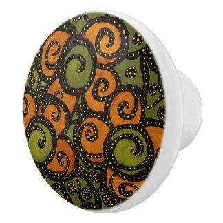 Floral Orange And Green Ceramic Knob