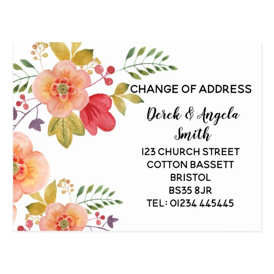 floral orange Change of address, new address Postcard