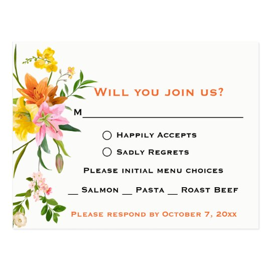 Floral Orange RSVP Lily Flowers - Wedding - Pink Postcard