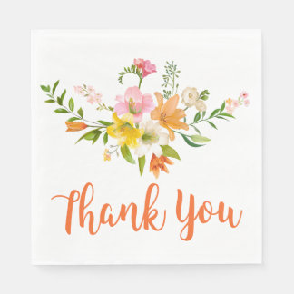 Floral Orange Thank You Lily Flowers Paper Napkin
