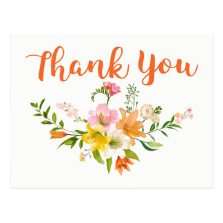Floral Orange Thank You Lily Flowers Pink Postcard