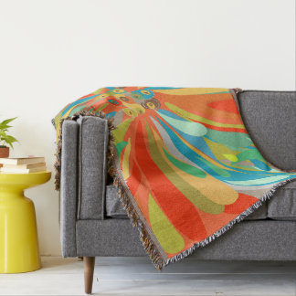 Floral Orange Turquoise and Blue Pattern Throw Blanket